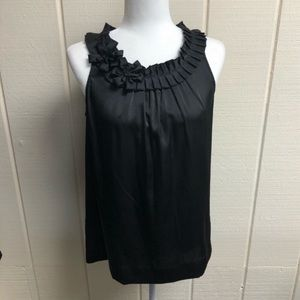 Tommy Hilfiger Tank Top Black Ruffles Silky Small